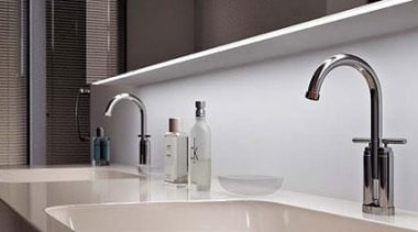 You down to a tee: Delicate LED band bathroom, bathroom sink, plumbing fixture, product, product design, sink, tap, gray