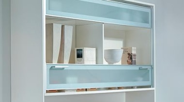 VerticoSynchro - Cabinet with sliding doors. - Vertically bathroom accessory, furniture, product, product design, shelf, shelving, window, gray