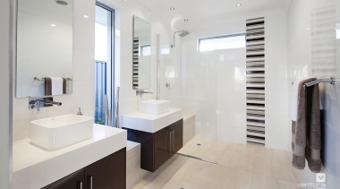Ensuite design. - The Nirvana Display Home - bathroom, home, interior design, property, real estate, room, gray