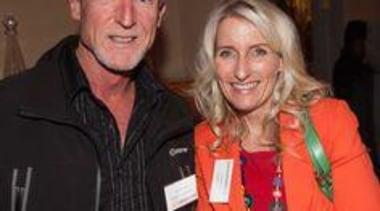Nigel Barnett (Caesarstone Australia) and Toni Roberts (Kitchen event, product, smile, socialite, black, red