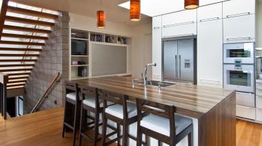 Karaka Bay Kitchen - Karaka Bay Kitchen - architecture, cabinetry, countertop, dining room, hardwood, interior design, kitchen, real estate, table, brown, white