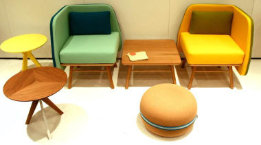 Bi Silla is a new collection from Portuguese chair, design, furniture, product, table, yellow, orange, white