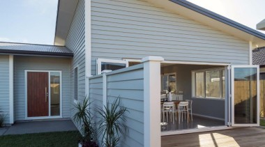 Tauranga Showhome - Tauranga Showhome - facade | facade, home, house, porch, property, real estate, siding, window, gray