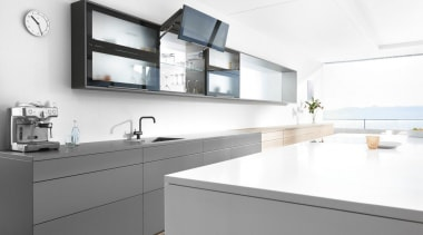 Bi-fold Lift System - AVENTOS HF - countertop countertop, interior design, kitchen, sink, tap, white, gray