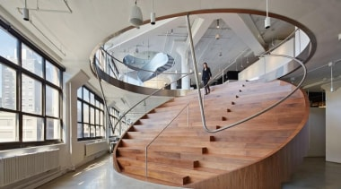 The design for renowned advertising agency Wieden+Kennedy moves architecture, handrail, interior design, maritime museum, product design, stairs, tourist attraction, gray