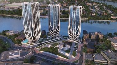 'Grace on Coronation' is a design by British-Iraqi aerial photography, bird's eye view, building, city, condominium, metropolis, metropolitan area, mixed use, skyscraper, tower block, urban area, gray, black