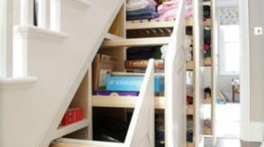 Stair Storage - floor | flooring | furniture floor, flooring, furniture, hardwood, room, shelf, shelving, stairs, gray