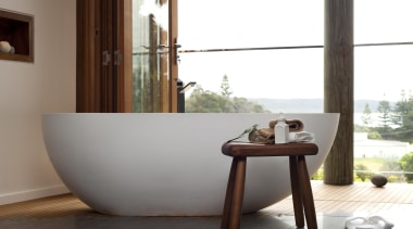 Winner Bathroom Design of the Year ACT Sthn bathroom, bathtub, floor, flooring, furniture, home, interior design, plumbing fixture, product design, table, tap, window, wood, white, gray