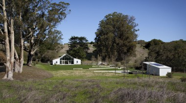 Hupomone Ranch is a LEED Platinum house designed cottage, farm, farmhouse, field, grass, grassland, home, house, land lot, landscape, meadow, pasture, plant, prairie, property, real estate, rural area, sky, tree, brown
