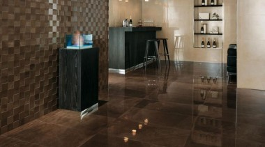 Armani bronze bar interior porcelain floor tiles and floor, flooring, hardwood, interior design, laminate flooring, lobby, property, tile, wall, wood flooring, brown