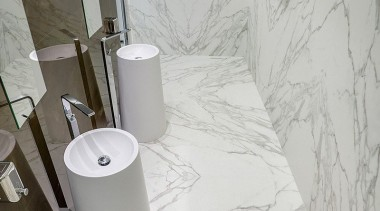 Neolith Calcatta bathroom, ceramic, floor, plumbing fixture, product design, tap, tile, toilet seat, wall, gray