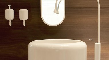 White Goccia pedestal lav and floor-mount faucet are electronics, plumbing fixture, product, product design, tap, technology, toilet, toilet seat, brown, orange