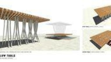 by Andy Florkowski - Ebb & Flow Table furniture, line, product, product design, roof, wood, white