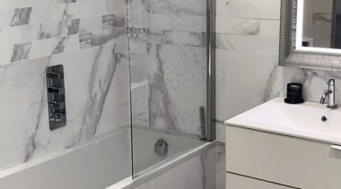 Marstood Mix 100x600 and Marstood Matt 600x600 bathroom, bathroom accessory, bathroom cabinet, floor, flooring, interior design, plumbing fixture, property, room, sink, tap, tile, wall, gray