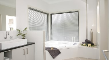 Harrisons Blinds & Shutters - Harrisons Blinds & bathroom, bathroom accessory, bathroom cabinet, curtain, floor, home, interior design, real estate, room, sink, window, window covering, window treatment, gray