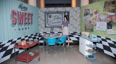 at Auckland Museum - 50s style kitchen - classroom, institution, table, gray