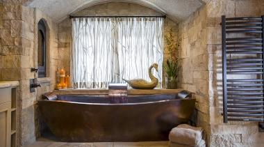 Stand Alone Copper Tub with Built In Head estate, interior design, room, window, brown, gray