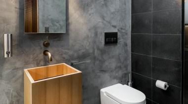 Chinsarsi Architects – Finalist - 2015 Trends International bathroom, bathroom accessory, bathroom cabinet, ceramic, floor, interior design, plumbing fixture, product design, sink, tap, tile, toilet, wall, gray, black