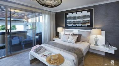Master ensuite design. - The Sanctuary Display Home bed frame, bedroom, ceiling, condominium, home, interior design, living room, real estate, room, gray