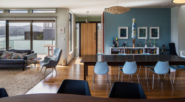 This home renovation by architect John Mills features furniture, interior design, real estate, table, gray, brown