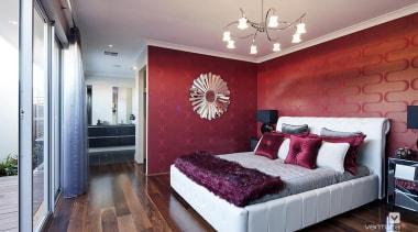 Master ensuite design. - The Essence Display Home bed frame, bedroom, ceiling, home, interior design, real estate, room, wall, gray, red