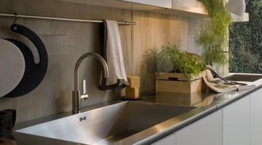 Gamma Kitchen designed by Antonio Citterio for Arclinea countertop, interior design, kitchen, sink, tap, gray, black