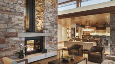 This new house, designed by Charles R Stinson ceiling, fireplace, interior design, living room, wall, gray