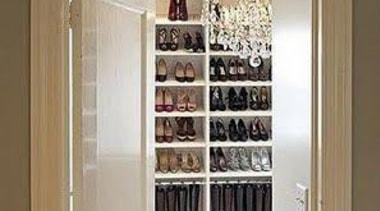 WALK IN CLOSET - Closet - walk in cabinetry, closet, display case, furniture, room, shelf, wardrobe, brown, gray