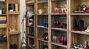 WALK IN CLOSET - Closet - walk in bookcase, furniture, shelf, shelving, wood, brown
