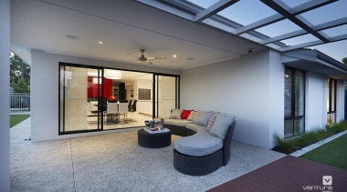 Alfresco entertaining. - The Montrose Display Home - architecture, ceiling, daylighting, estate, floor, home, house, interior design, living room, lobby, property, real estate, window, gray