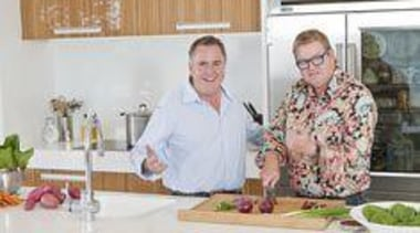 Mal Corboy with Simon Gault - Designer - brunch, cook, cooking, cuisine, dish, floral design, floristry, flower, flower arranging, food, lunch, meal, professional, senior citizen, service, white
