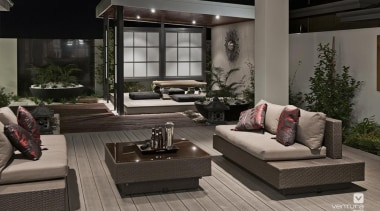Japanese Alfresco Design. - The Dynasty Display Home floor, flooring, furniture, home, interior design, living room, patio, black, gray