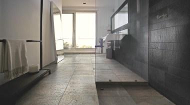 Stone D quartzite barge bathroom floor tiles and apartment, architecture, daylighting, floor, flooring, house, interior design, lobby, loft, property, real estate, tile, wall, wood flooring, gray, black