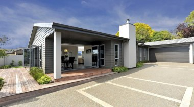 Gold Award winning 'Tyler' clad in Linea weatherboard elevation, facade, home, house, property, real estate, white, blue