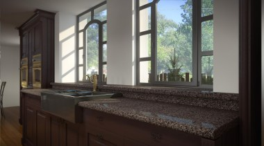 Is steely and edgy, a design portraying the countertop, home, interior design, room, window, black, gray