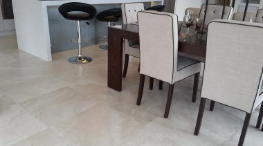 travertino bone kitchen dining floor tiles - Travertino chair, floor, flooring, furniture, hardwood, laminate flooring, property, table, tile, wood, wood flooring, gray