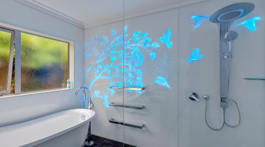 Colourful glass splashbacks create a dynamic backdrop in bathroom, blue, interior design, property, room, wall, gray
