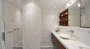 Downtown Penthouse Living - Downtown Penthouse Living - bathroom, floor, home, interior design, property, room, tile, wall, gray