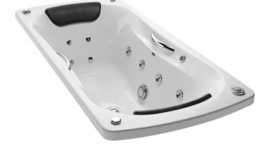 Lie back in comfort in a gently contoured angle, bathtub, hardware, product design, white