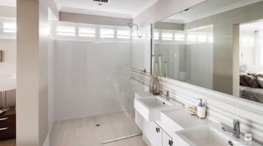 Ensuite design. - The Indulgence Display Home - bathroom, floor, home, interior design, real estate, room, sink, tile, gray