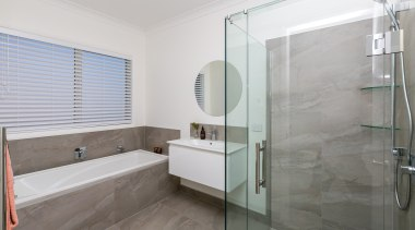 Vision Living frameless glass corner shower, with White bathroom, floor, interior design, real estate, room, gray