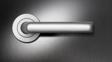 Schlage Medio Stella Lever Handle on Rose. Zinc door handle, hardware, hardware accessory, line, product, product design, black