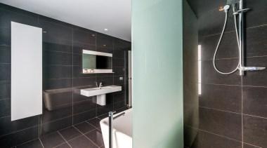 Winner Bathroom of the Year 2013 Tasmania - architecture, bathroom, floor, interior design, property, room, tile, black, gray
