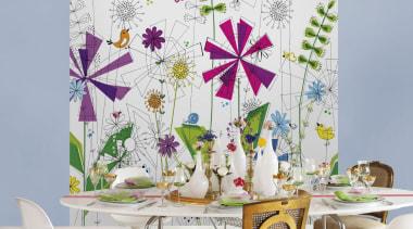 Funky Interieur - Italian Color Range - flower flower, interior design, purple, table, wall, wallpaper, white, gray