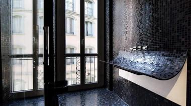 A washbasin is a washbasin is a washbasin apartment, architecture, building, daylighting, glass, interior design, property, window, black