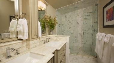 Historic Bungalow Renovation - Master Bathroom - bathroom bathroom, countertop, estate, floor, home, interior design, property, real estate, room, sink, tile, brown, gray