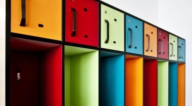 School lockers featuring three colours in Formica Sunflower, product, shelf, shelving, red