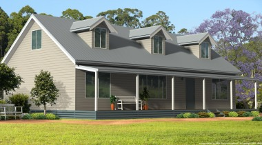 Designed for modern country living, our Explorer Collection cottage, elevation, estate, facade, farmhouse, home, house, porch, property, real estate, residential area, roof, siding, suburb