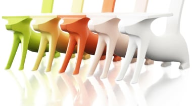 This Children's chair/ desk designed by Philippe Starck chair, furniture, product, product design, table, white
