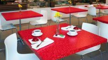 Tables featuring Formica Red Ellipse - Tables featuring chair, floor, flooring, furniture, restaurant, table, red